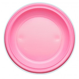 Plastic Plate PS Flat Pink Ø22 cm (30 Units)
