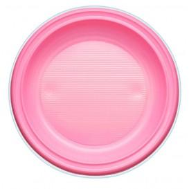 Plastic Plate PS Deep Pink Ø22 cm (600 Units)