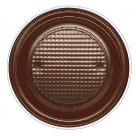 Plastic Plate PS Deep Chocolate Ø22 cm (30 Units)