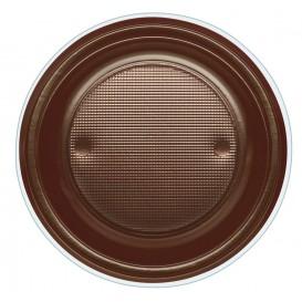 Plastic Plate PS Deep Chocolate Ø22 cm (600 Units)