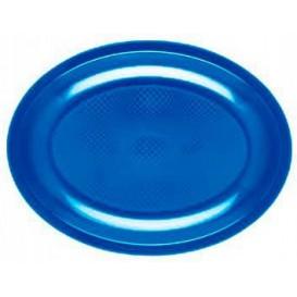 "Plastic Platter Oval Shape Mediterranean Blue ""Round"" PP 30,5 cm (25 Units)"