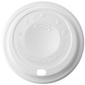 "Plastic Lid PS ""Cappuccino"" White Ø8,9cm (100 Units)"