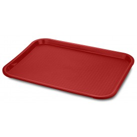 Plastic Tray Fast Food Red 27,5x35,5cm (1 Unit)