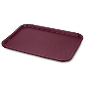 Plastic Tray Fast Food Burgundy 35,5x45,3cm (1 Unit)