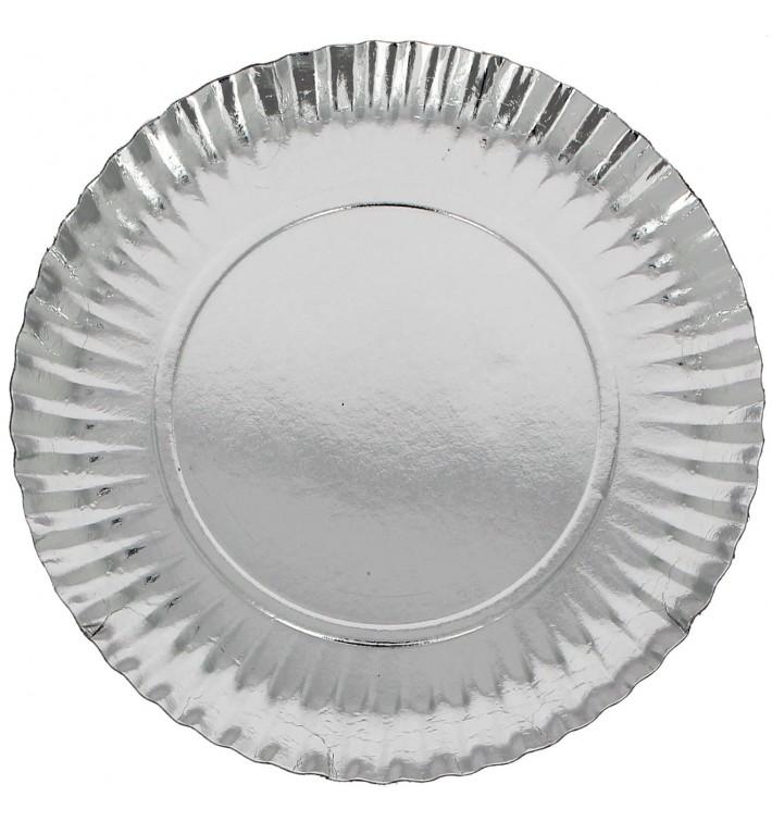 Paper Plate Round Shape Silver 23cm (500 Units)