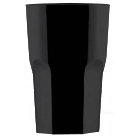 "Plastic Glass SAN Reusable ""Granity"" Black 400 ml (5 Units)"