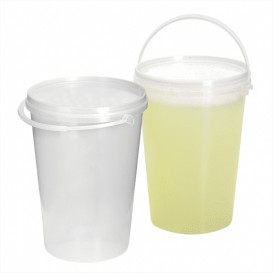Plastic Bucket with Handle and Lid Clear 1000 ml (10 Units)