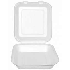 "Sugarcane Hinged Container ""Menu Box"" White 20x18x5cm (200 Units)"