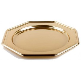 Plastic Charger Plate PET Octogonal shape Gold 30 cm (50 Units)