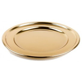 Plastic Charger Plate Round Shape Gold 30 cm (5 Units)