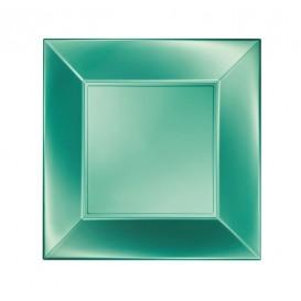 "Plastic Plate Flat Green ""Nice"" Pearl PP 23 cm (300 Units)"
