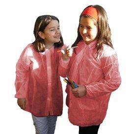 Disposable Kids Lab Coat TST PP Velcro Red (1 Unit)