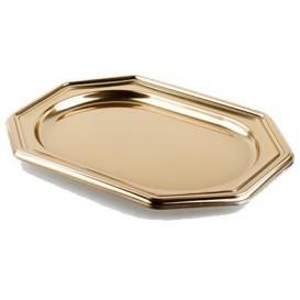 Plastic Tray Octogonal Shape Gold 36x24 cm (50 Uds)