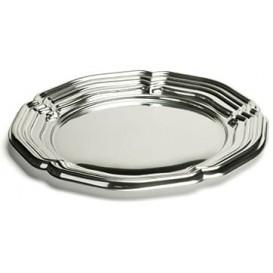 Plastic Tray Round Shape Silver 34 cm (5 Units)