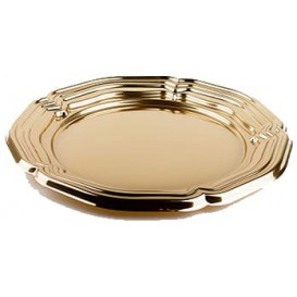 Plastic Tray Round Shape Gold 46 cm (5 Units)