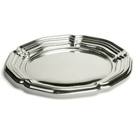 Plastic Tray Round Shape Silver 46 cm (5 Units)