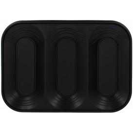 """Plastic Tray Microwavable """"X-Table"""" 3C Black 33x23cm (2 Units)"""