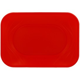 """Plastic Tray Microwavable """"X-Table"""" Red 33x23cm (60 Units)"""