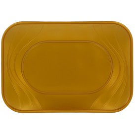 "Plastic Tray Microwavable ""X-Table"" Gold 33x23cm (60 Units)"