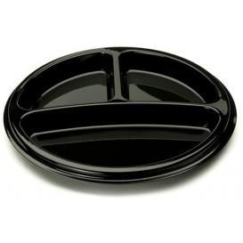 Plastic Plate Round Shape 3C Black 26 cm (25 Units)