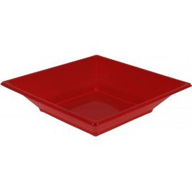 Plastic Plate Deep Square shape Red 17 cm (5 Units)
