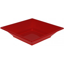 Plastic Plate Deep Square shape Red 17 cm (25 Units)