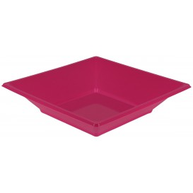 Plastic Plate Deep Square shape Fuchsia 17 cm (300 Units)