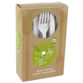 Cornstarch Fork PLA Biodegradable White 16cm (50 Units)