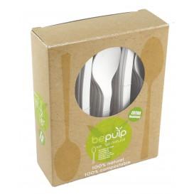 Cornstarch Spoon PLA Biodegradable White 15,5cm (500 Units)