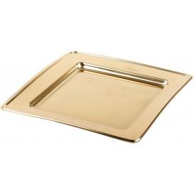 Plastic Plate PET Square shape Gold 24cm (180 Units)