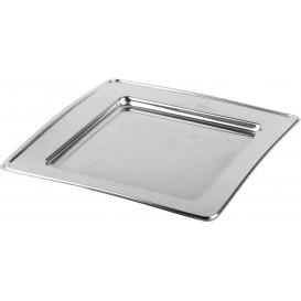 Plastic Plate PET Square shape Silver 24cm (6 Units)