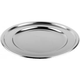 Plastic Plate PET Round shape Silver Ø23 cm (6 Units)