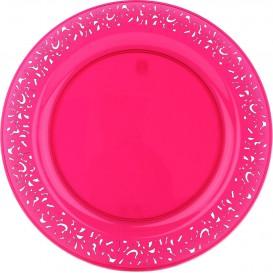 "Plastic Plate Round shape ""Lace"" Raspberry 19cm (4 Units)"