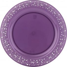 """Plastic Plate Round shape """"Lace"""" Eggplant 19cm (4 Units)"""