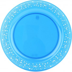 "Plastic Plate Round shape ""Lace"" Turquoise 19cm (4 Units)"