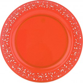 "Plastic Plate Round shape ""Lace"" Orange 19cm (4 Units)"