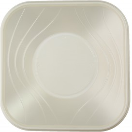 "Plastic Bowl PP Square shape ""X-Table"" Pearl 18x18cm (120 Units)"