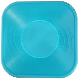 "Plastic Bowl PP Square shape ""X-Table"" Turquoise 18x18cm (8 Units)"