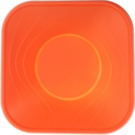 "Plastic Bowl PP Square shape ""X-Table"" Orange 18x18cm (120 Units)"