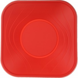 "Plastic Bowl PP Square shape ""X-Table"" Red 18x18cm (120 Units)"