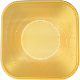 "Plastic Bowl PP Square shape ""X-Table"" Gold 18x18cm (120 Units)"