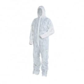 "Disposable Plastic Coverall ""TST"" PP Hood Hook-and-loop fastener Size XXL White (1 Unit)"