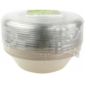 Sugarcane Bowl with Lid 1000ml Ø21x6cm (15 Units)