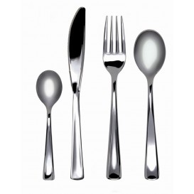 Plastic Fork Metallized 19cm (500 Units)