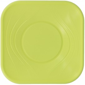 "Plastic Bowl PP Square shape ""X-Table"" Lime 18x18cm (120 Units)"