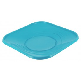 "Plastic Plate PP ""X-Table"" Square shape Turquoise 18 cm (8 Units)"