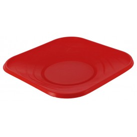 """Plastic Plate PP """"X-Table"""" Square shape Red 18 cm (120 Units)"""
