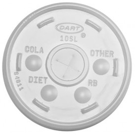 Plastic Lid with Straw Slot PS Ø9,4cm for Foam Cup (100 Units)