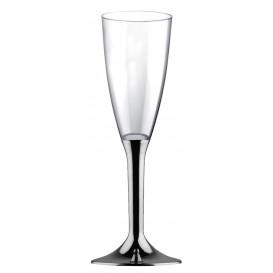 Plastic Stemmed Flute Sparkling Wine Niquel Chrome 120ml 2P (200 Units)