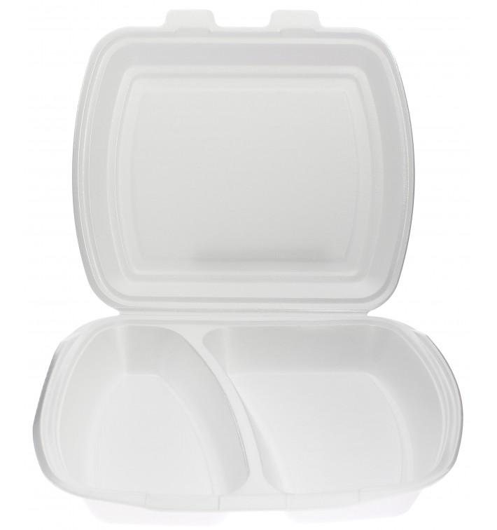 Foam Lunch Box 2 Compartments White 2,40x2,10x0,70cm (250 Units)